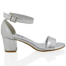 Para Mujer media baja Talón Peep Toe de señoras correa de tobillo Partido sandalias de tiras 3-8
