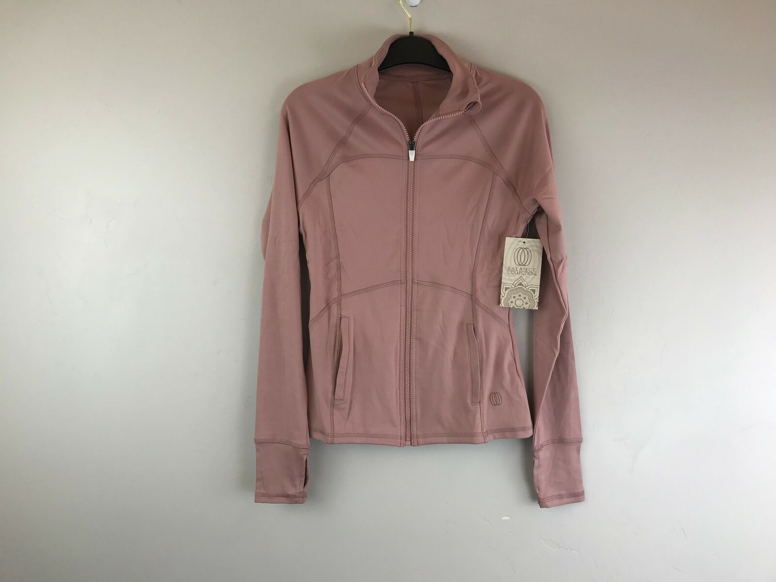 Women's Balance Collection Fitness Zip Up Jacket W/ Pockets, Size M - Pink