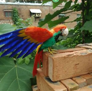 Details About Simulation Wings Parrot Model Foam Furs Colorful Bird Toy Gift About 30x45cm