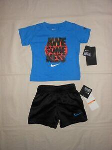 "NWT Nike Infant Boys 2 Pc Set T-Shirt /& Shorts 12M /""JUST DO IT/""Blue NWT"