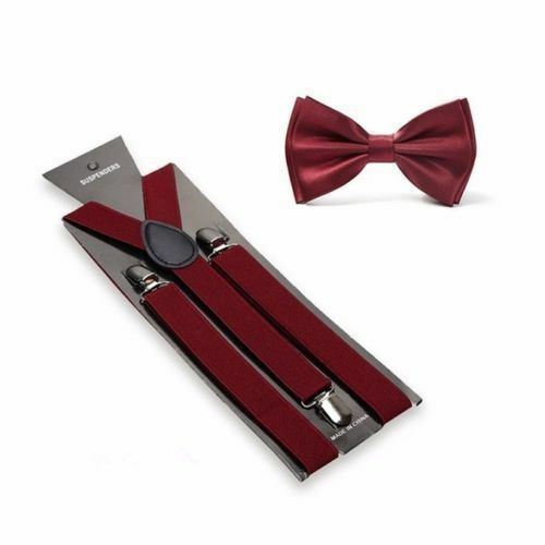 New Burgundy Suspenders Bow Tie Matching Set Wedding Prom Maroon  USA SELLER