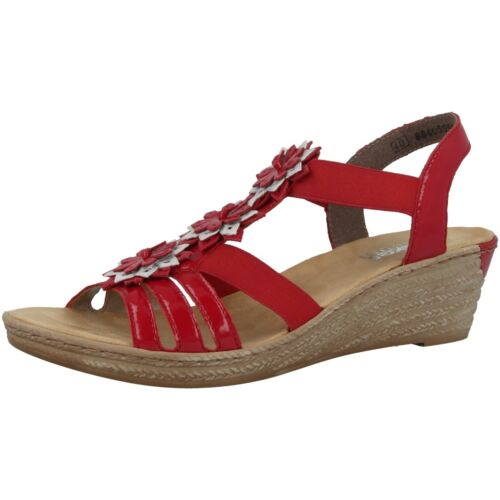 62461 34 space Luxor Red Antistress Chaussures Wedge Femme Sandal Rieker Ice 47P1qw