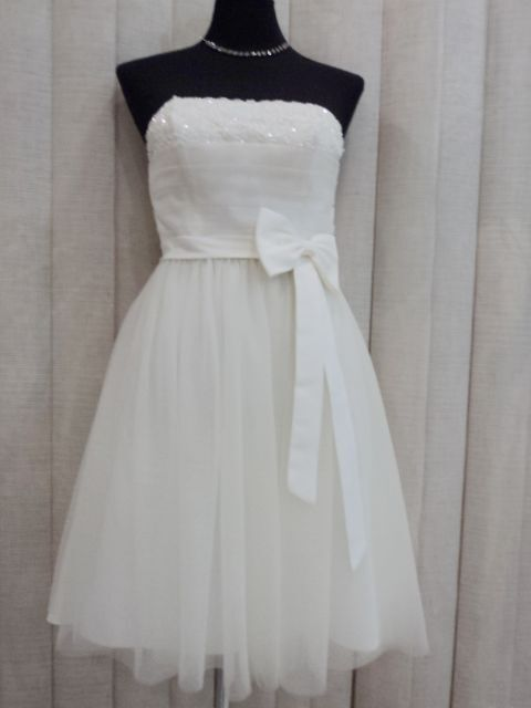 Sz M 10 Ivory Strapless Cocktail Formal Bridal Wedding Evening Gown Party Dress