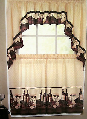 Vino Wine Bottles Tuscan Kitchen Curtain Tier Set Valance or Swags Chef