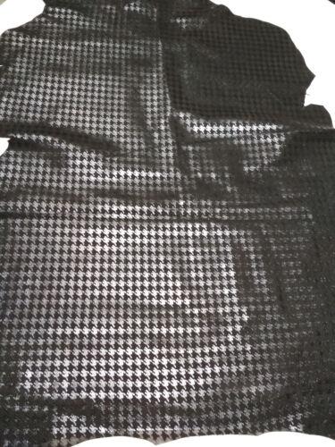 BLACK SUEDE PRINTED LAMB SKIN HIDE LEATHER A1