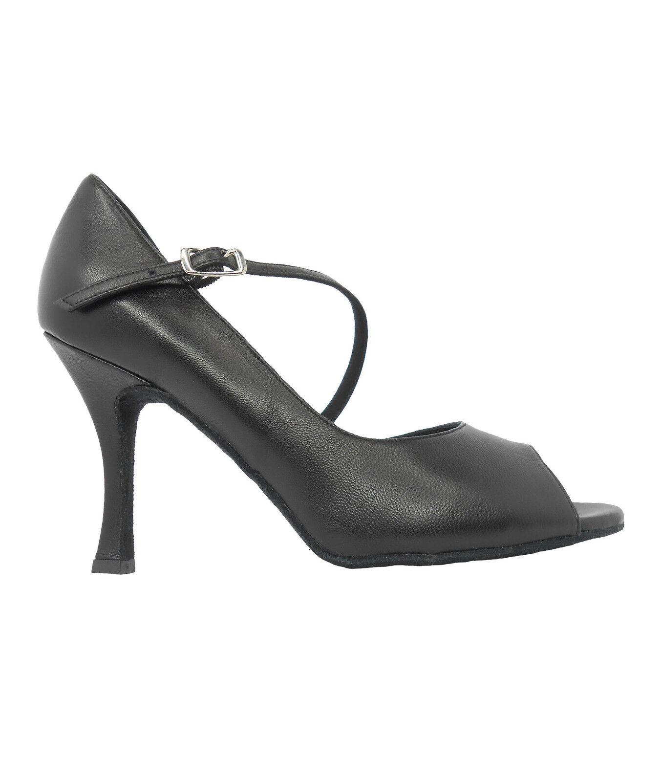 Ritmo VL424 Damen Tango Latein Salsa Rumba Standard Schuhe schwarz Abs. 9 cm