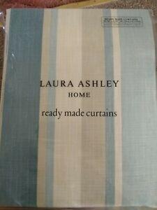 """Laura Ashley Awning Stripe Raspberry Lichen Curtains 88/"""" W x 90/"""" 223 x 229cm NEW"""