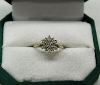 Lovely secondhand third of a carat 0.33 carat 9ct Gold And Diamond Cluster Ring