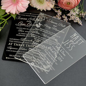 Personalised Favours Acrylic Wedding Invitations 11B Black Gold
