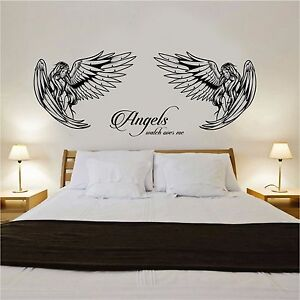 Angel Wall Art Sticker With Angels Watch Over Me Quote Bedroom