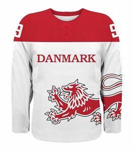 NEW 2019 Team Denmark Danmark Hockey Jersey NHL Nielsen Eller Hansen ... d8b61991d