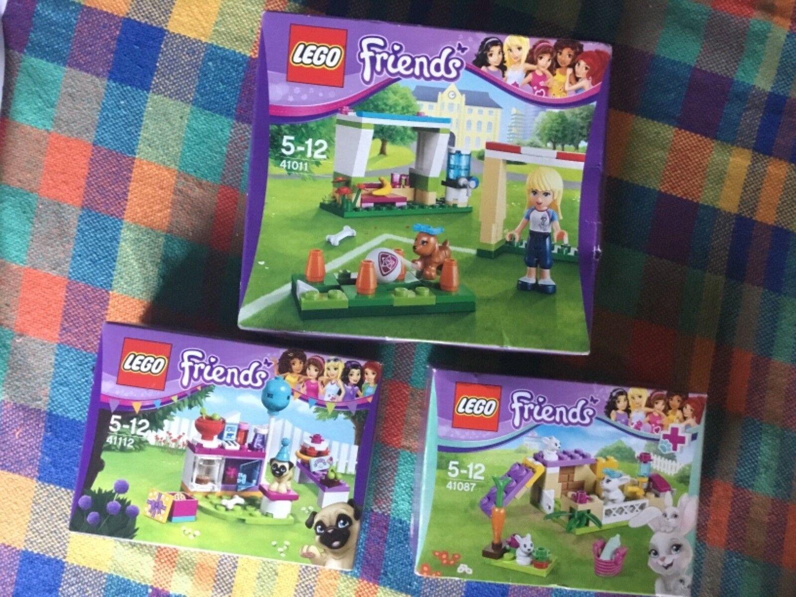 LEGO Friends 41087 Bunny Babies,41112 Birthday Dog Cake, 41011, Football Dog