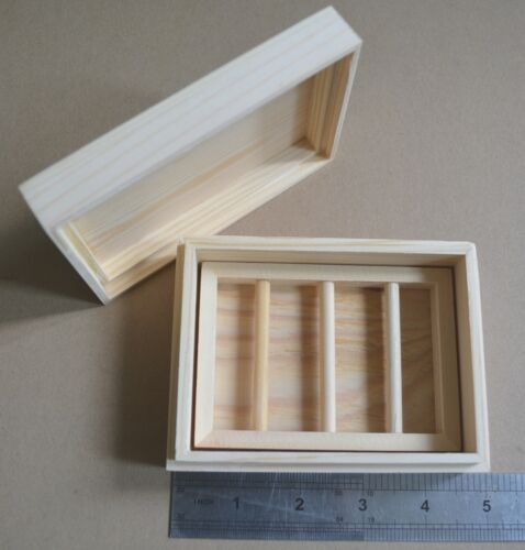 Natural Wood Box Soap Rack Jewelry Craft Case Dowel Tools Saver Holder