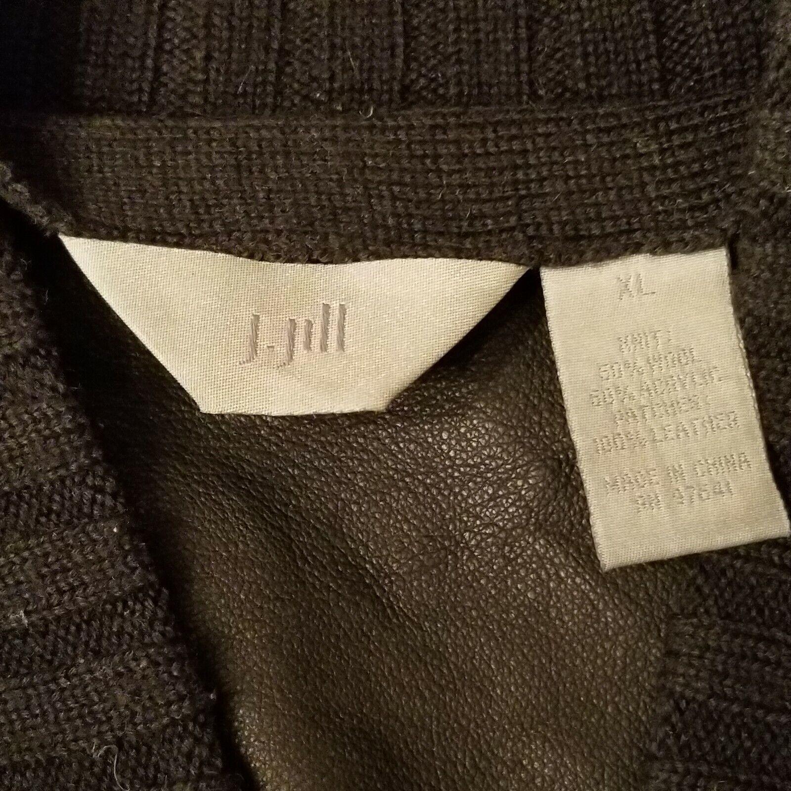 J Jill Cardigan  Wool/suede Leather Blend Woven L… - image 7