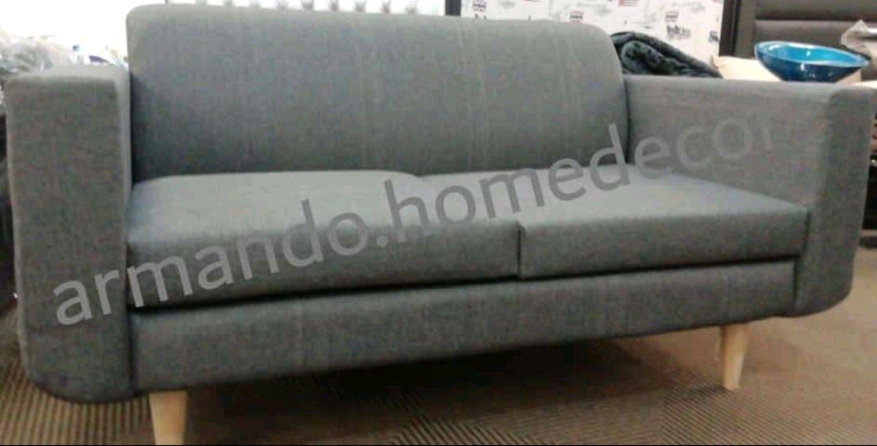 Modern Grey Fabric Couch With Wood Legs