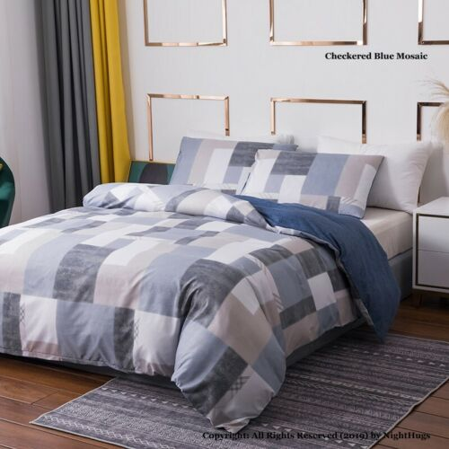 grey and blue reversible kingsize duvet set