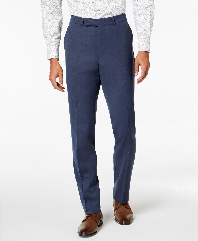 KENNETH COLE REACTION 31W X 32L men's blueE SLIM FIT FLAT FRONT DRESS PANTS