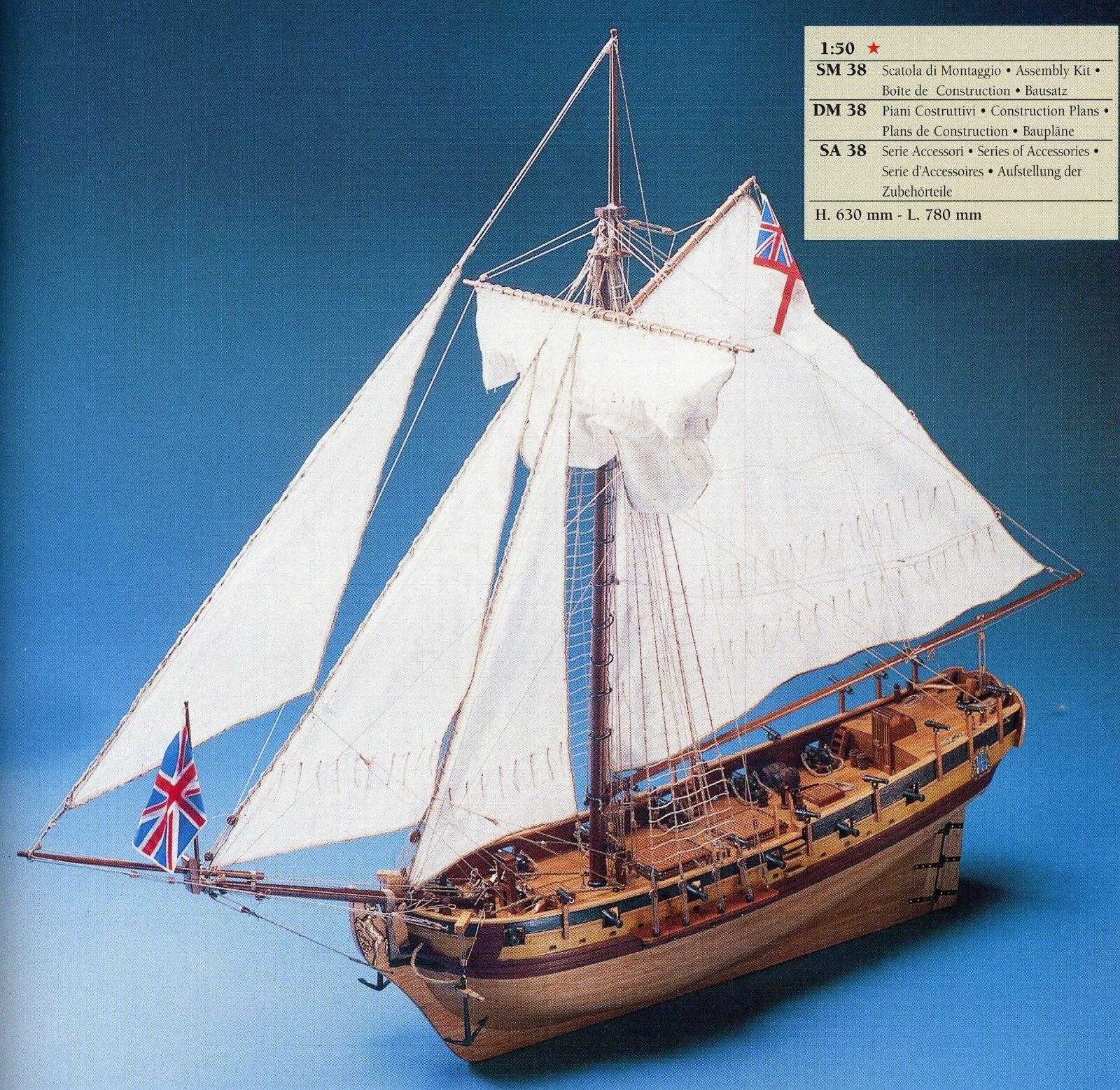 COREL SM38 BARCA Modello H.M.S. RESOLUTION imbarcazione Nave CUTTER inglese 1 50