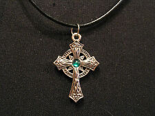 "CELTIC CROSS VINTAGE NECKLACE GOTH OCCULT UK IMPORT  ""GREEN BEAD"""