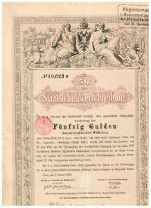 Österreich Staatschuld, Wien 1868, 50 Gulden, seltener Nennwert, gelocht,