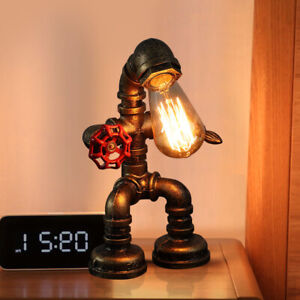 Industrial-Iron-Pipe-Table-Lamp-Steampunk-Robot-Desk-Light-Fixture-Vintage-US