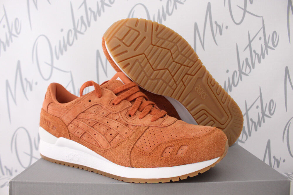 ASICS GEL LYTE III 3 SZ 10 SPICE ROUTE ORANGE Blanc GUM Marron SUEDE HL7X3.3030