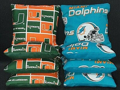 Set Of 8 Miami Dolphins Marlins Cornhole Bags FREE SHIPPING