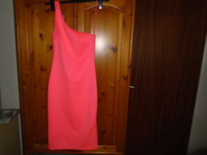 Fluorescent-pink-bodycon-one-shoulder-calf-length-party-dress-TOPSHOP-size-8