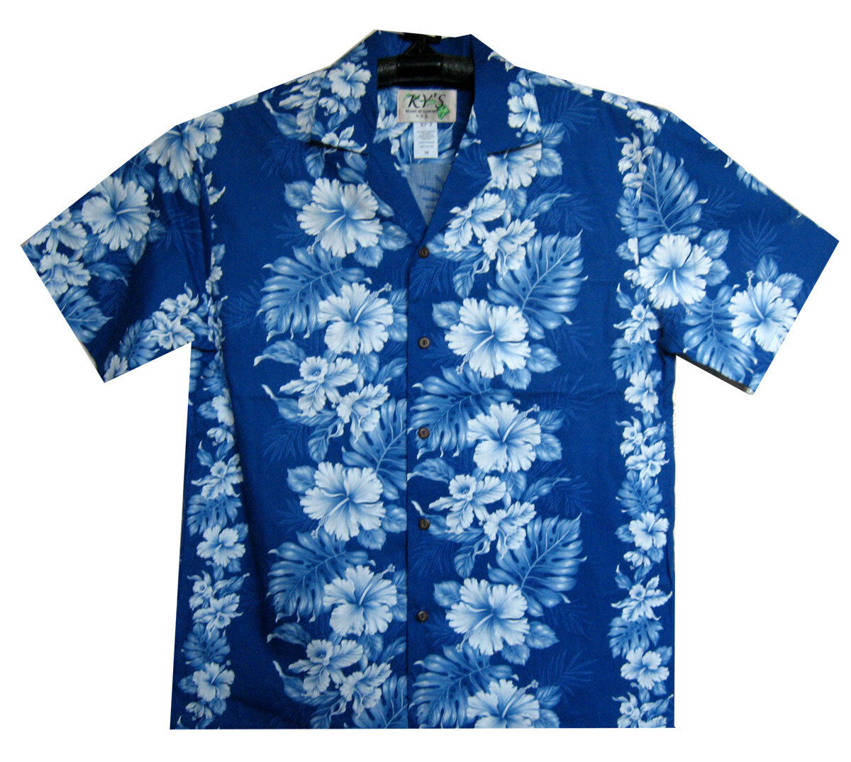 KY`S Original Hawaiian Shirt, Hawaiihemd, Batik black o. blue S-4XL