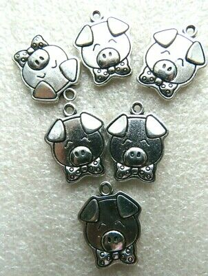 Crafts Jewellery Making Tibetan  SP 10 Cute Pig Piglet Charms Gift