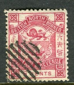 NORTH BORNEO; 1888-92 early classic 'Postage & Revenue' issue used 6c. value
