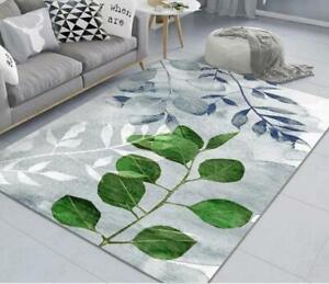 3D Blue Green Leaves Non-Slip Rug Door Shower Play Mat Hearth Floor Carpet 214