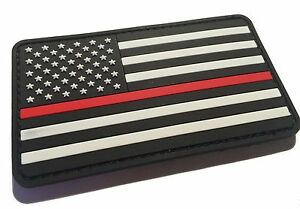 PVC-Firefighter-Thin-Red-Line-United-States-Flag-Patch-Fire-amp-Rescue-EMT