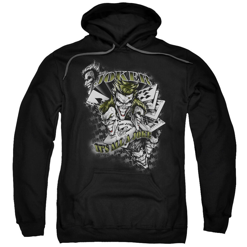 Batman Joker Faces Cards  IT'S ALL A JOKE Licensed Sweatshirt Hoodie