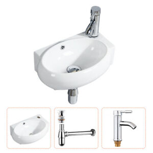 Bathroom Vessel Wall Mount Sink Ceramic Corner Basin With Drain Faucet Combo Set Ebay