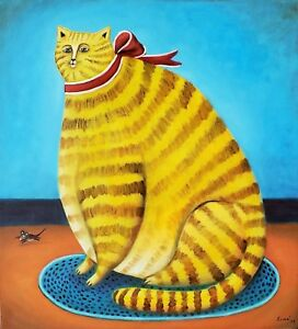 fat-cat-painting-by-mexican-artist-Esau-Andrade-22-x-24