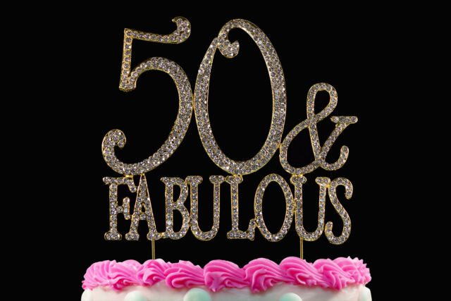 Astounding 50 And Fabulous Crystal Cake Toppers Bling 50Th Birthday Cake Personalised Birthday Cards Paralily Jamesorg