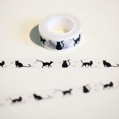 1.5cm*10m Black Cat Washi Tape DIY Decoration Scrapbooking Adhesive Masking Tape
