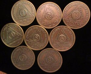 Lot Alcoholics Anonymous AA 8 Month Aluminum Medallion Coin Chip Token Sober