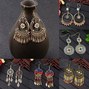 Vintage-Boho-Ethnic-Tassel-Flower-Wooden-Beads-Drop-Dangle-Stud-Women-Earrings