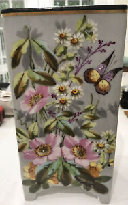 Beautiful-Vintage-Hand-Painted-Floral-Vase-Flowers-amp-Butterfly
