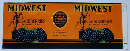 Midwest Blackberries Old Can Label Chicago ILL