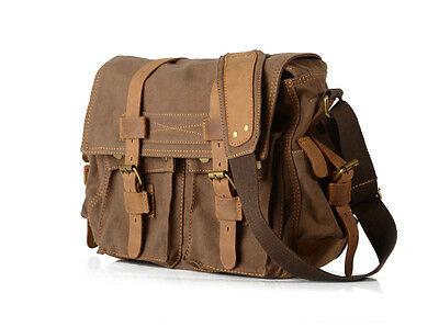 Men Canvas Vintage Leather Messenger School Book Bag Satchel Crossbody Handbag
