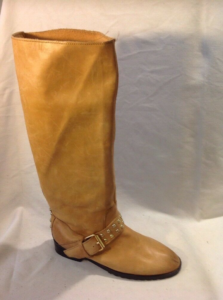 Top Shop Beige Knee High Leather Boots Size 37