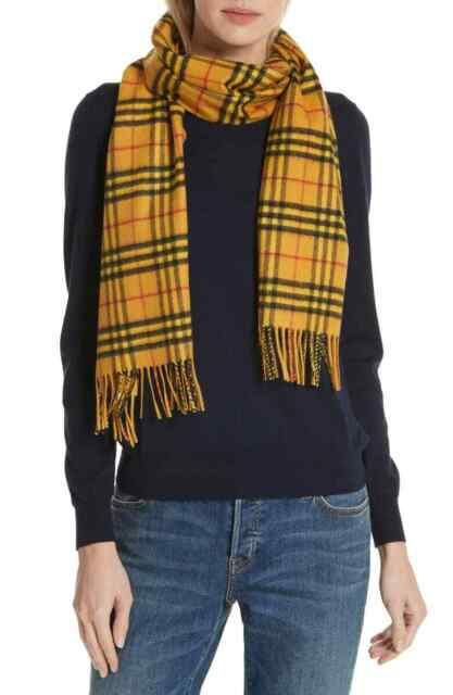 ce8c1353b 100% AUTHENTIC NEW WOMEN BURBERRY VINTAGE VIBRANT YELLOW CHECK CASHMERE  SCARF