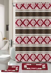 15PC MADRID BURGUNDY BROWN BATHROOM BATH MATS SET RUG CARPET SHOWER CURTAIN