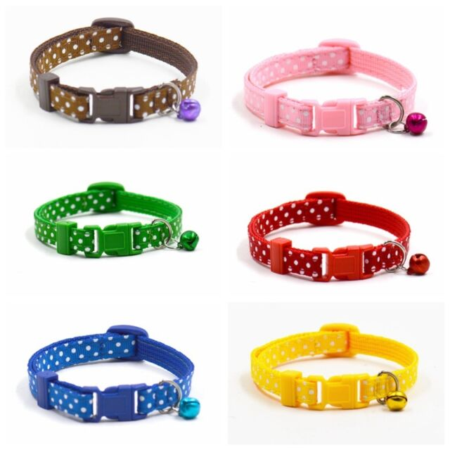Pet Small Cat puppy Dog Adjustable Polka Cat Buckle Neck Strap Collar With Bell