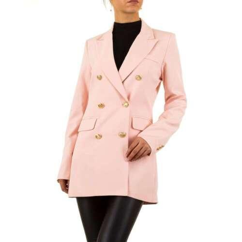 Elegante Donna longblazer giacca con bottoni d/'oro rosa #j951