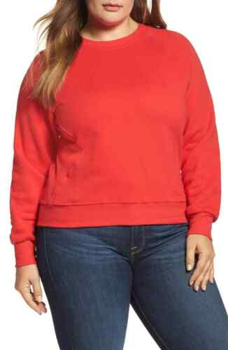 XL NWT $110 Good American Good Sweats The Not-So-Basic Crew Red Sweatshirt SZ:4