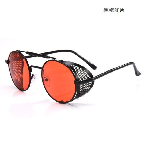 Men Metal Side Shield Designer Goggles Retro Steampunk Round Sunglasses Hot